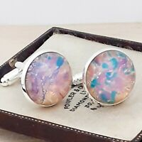 Vintage Milky Pink Gold Fire Glass Opal - Large Round Silvertone Cufflinks