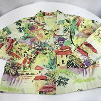 Studio Works Women's Denim Jacket Lime Green Resort Print Sequin Beads Petite L