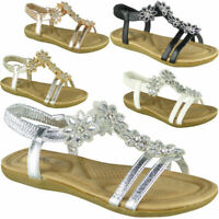 Womens Ladies Flat Elastic Strap Bling Comfy Summer Peeptoe Sandals Shoes Sizes
