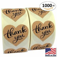 """1.5"""" Heart Shape Kraft Paper Thank You Adhesive Label, 1000 Stickers per Roll,"""