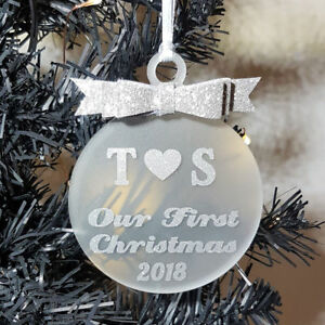 Personalised Our First Christmas Bauble Tree Decoration Family Gift Keepsake