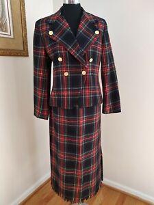 Vintage Rafaella Petites Plaid Check Tweed Wool Jacket Sz10 Skirt Sz12