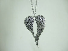 Tibetan Silver Tone Large ANGEL WINGS FEATHER Heart Pendant Chain Necklace 18""