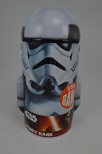 """Star Wars Storm Trooper Money Piggy Coin Bank Safe 7""""h x 3 3/8""""d #30"""