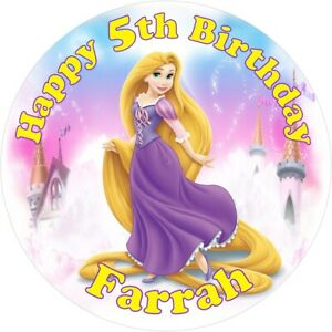 """Rapunzel, 7.5"""" , 2"""" , 1.5"""" ROUND EDIBLE ICING PRINTED CAKE TOPPER"""