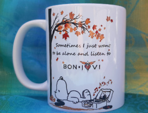 *FREE POSTAGE BE ALONE SNOOPY LISTEN JON BON JOVI MUG CUP GIFT DISHWASHER SAFE