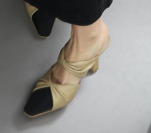 Handmade Women Leather Twist Mule Slingback Sandal Pumps Aqua Toe Cap