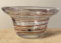 """Solid Thick Hand Blown glass bowl With Red Swirl - Beautiful And Heavy 6"""""""