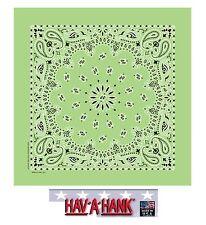 Fabriqué aux USA Hav-A-Hank Vert Lime Paisley Bandana Écharpe Scarve Tête
