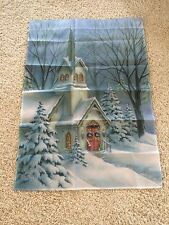 Christmas Garden Flag Beautiful Church Snow Large 28 By 40 New Brand New