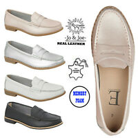 Ladies Penny Loafers Moccasins Women Leather Deck Casual Boat Slip On Shoe Size