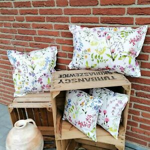 Wachstuchkissen Blumen - Outdoorkissen Gartenkissen Loungedekoration in 3 Größen