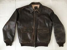 Vintage Type A2 Avirex Brown Leather Jacket Bomber Distressed Coat Mens Medium