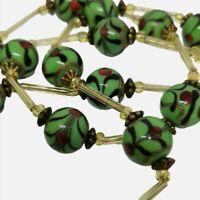 Vintage Green Glass Necklace. Flapper Mardi Gras. Unusual.