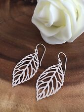 925 Sterling Silver Drop Hook Earrings With Silver Plated Hollow Leaf Leaves