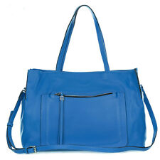 Gianni Chiarini Italian Made Blue Pebbled Leather Carryall Tote Bag with Pocket