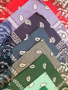 "NEW 21"" Square Cotton Paisley Design BANDANA - Choose from 15 Colors!"
