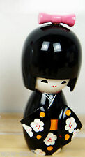 Handmade Cute Japanese Creative Kokeshi Black Flower Wooden Doll Girl 9cm