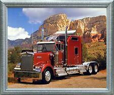 Maroon Kenworth Truck Transportation Wall Decor Silver Framed Art Print Picture