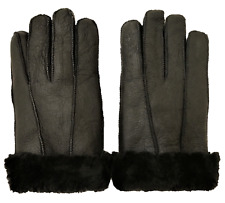SHEEPSKIN GLOVES SHEARLING LEATHER FUR WARM LINED WINTER BLACK SKIING CUFF