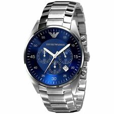 New Emporio Armani EA AR5860 Men's Blue and Silver Dial Watch