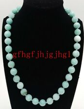 Natural 10mm Faceted Light Blue Aquamarine Gemstone Round Beads Necklace 18''