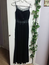 Black Beaded Sequin See Thru Elegant Sexy Long Dress Size S WC1075