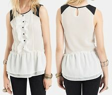 Free People Ivory Tuxedo Paint the Town Ruffle Top w/Faux Leather Accent - $88