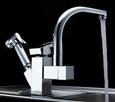 Flexible Kitchen Sink Swivel Dual Spout Mixer Taps Hand Sprayer Brass Faucet gd5