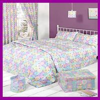 Girls Patchwork Hearts Bedroom Collection Duvet Sets Curtain Bin Shade Bedspread