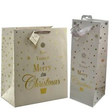 Set Of 2 Mad Dots Merry Christmas Paper Bag And Wine Bottle Xmas Gift Packaging