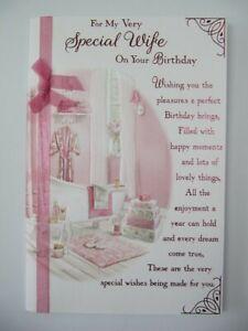 EMBOSSED WONDERFULLY WORDED & RIBBON VERY SPECIAL WIFE BIRTHDAY GREETING CARD