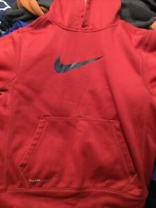 Boys Nike Therma Fit Hoodie Jacket Red Small