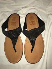 c8a6f21c7bf FitFlop Banda ll Thong Sandal Black Leather Glitter Comfort 9 EU 41
