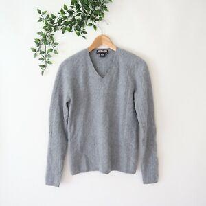 Kirkland Women's Super Soft V Neck Cable Knit Cashmere Sweater L Large Gray