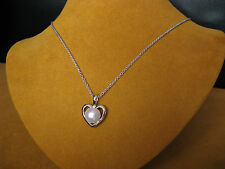 HONORA WHITE PEARL HEART LOVE CHAIN NECKLACE PENDANT SS GIFT Christmas New Year