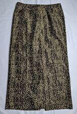 Talbots Full Length Long Metallic Leopard Print Lined Skirt Back Slit Sparkle