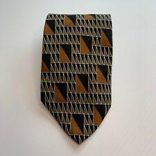 Cellini Vintage 100% Silk Brown Orange Black Geometric Design Tie Business