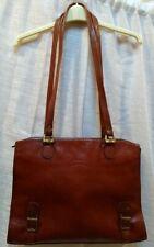 Texier Tan Leather Briefcase Laptop Bag Satchel Double Handle Shoulder Bag Work