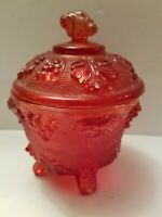 Vintage Footed Candy Dish Beaded Glass w Lid Ornate Grapes Design Ruby Red 5.5""