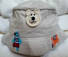 New Beige Tan Fishing Pirate Bucket Hat w/ Bear 6 12 Months Boys Infant Baby