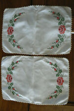 2 Vintage Matching Embroidered Table Runners Scarves Roses Linen FREE US SHIP
