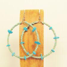 "2"" Stone Chip Aqua Turquoise Color Bohemian Handmade Seed Bead Hoop Earring"