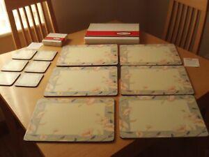 Pimpernel Nouveau Smoke Grey Rectangle Placemats & Coaster Set Of 6 Boxed (B).