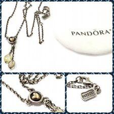 Retired Pandora 925 14K Gold Bevel Heart Lime & Smoked Quartz Necklace 39211LQ45