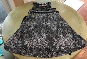 Justice Girls 10 Black & White Dress Sleeveless W/ Black Tie With Metal Accents