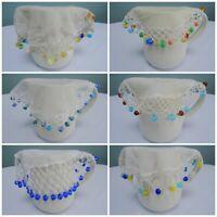 Antique Jug Cover Vintage Crochet Lace Net Milk Cream Sugar Bowl Beaded Bead 1g