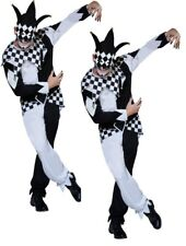 Masked Jester Costume Adults Jesters Halloween mens Fancy Dress costume