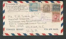 1956 registered air mail cover Jaguey Grande to University of NC Raleigh