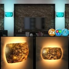 Set of Two RGB LED Wall Lights Dimmable Bedroom Lights Gold Remote Control